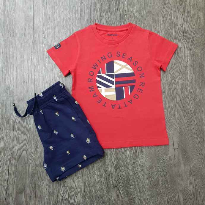 MAYORAL Boys 2 Pcs Shorty Set (RED - NAVY) (92 to 128 CM)