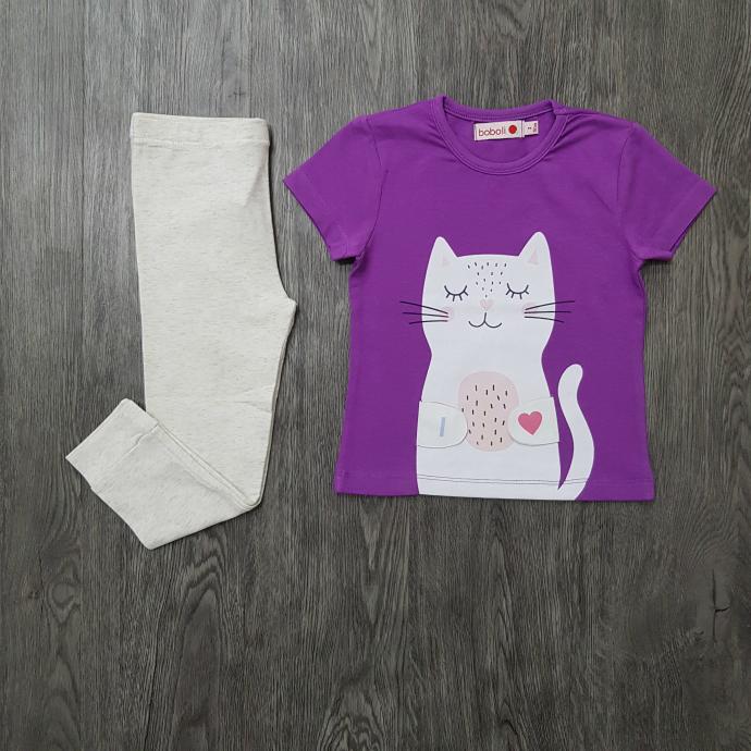 BOBOLI Girls 2 Pcs Pyjama Set (PURPLE - LIGHT GRAY) (2 to 8 Years)