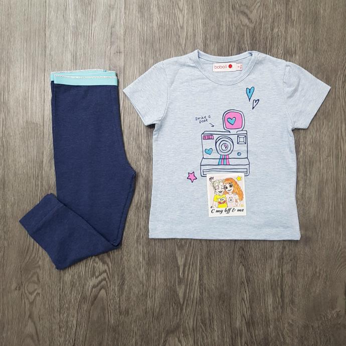 BOBOLI Girls 2 Pcs Pyjama Set (LIGHT BLUE - NAVY) (2 to 8 Years)
