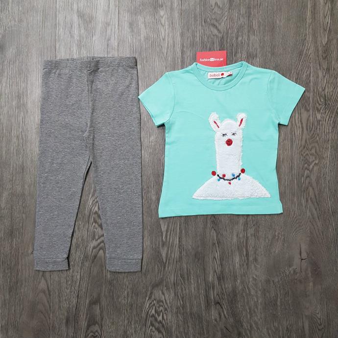 BOBOLI Girls 2 Pcs Pyjama Set (LIGHT BLUE - GRAY) (2 to 8 Years)
