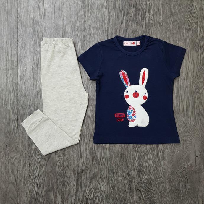 BOBOLI Girls 2 Pcs Pyjama Set (NAVY LIGHT GRAT) (2 to 8 Years)