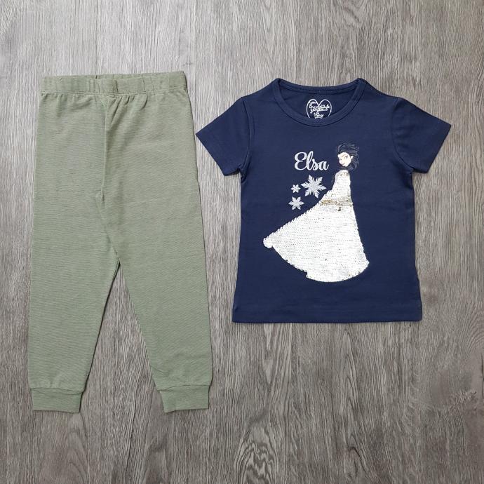 MOTHERLINE Girls 2 Pcs Pyjama Set (NAVY - GRREN) (2 to 8 Years)