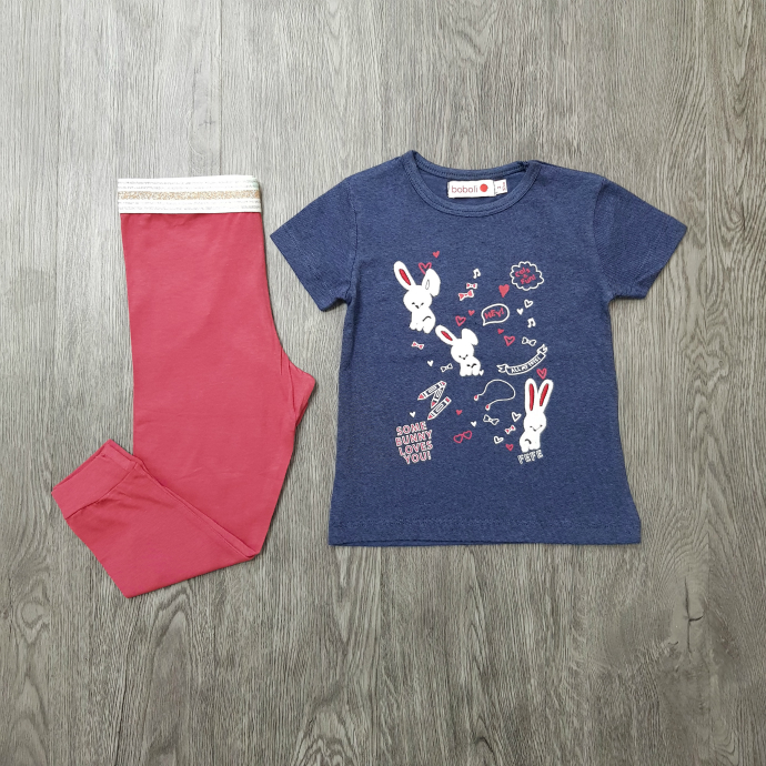 BOBOLI Girls 2 Pcs Pyjama Set (NAVY - RED) (2 to 8 Years)