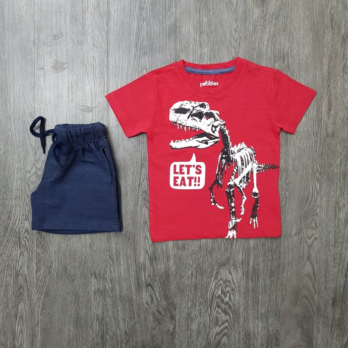 PEBBLES Boys 2 Pcs  T-Shirt & Shorty Set ( RED - NAVY ) (2 to 8 Years)