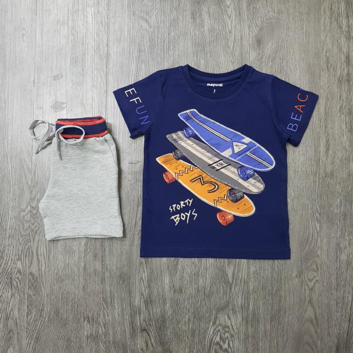 MAYORAL Boys 2 Pcs T-Shirt & Shorty Set ( BLUE - GRAY) ( 2 to 9 Years)