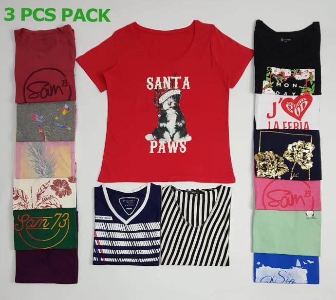 3 Pcs Ladies T-Shirt Pack (Random Color) (XS - S - M - L - XL - XXL - 3XL - 4XL - 5XL)