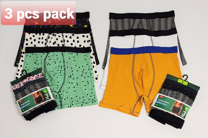 HEMA 3 Pcs Mens Long Boxer Pack (Random Color) (S - M - L - XL - XXL)