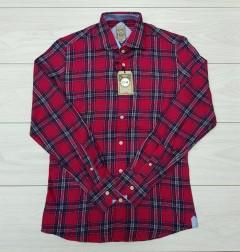 COTTON SILK  Mens Shirt (RED) (S - M - L )