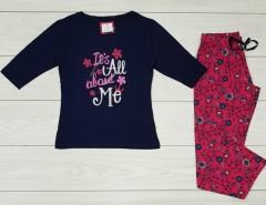 PRIMARK Ladies Pyjama Set (NAVY - MAROON) (LP) (XS - S - M - L - XL)