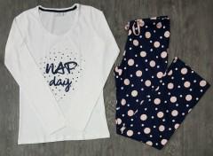9TH AVENUE Ladies Pyjama Set (WHITE - NAVY) (S - XL)
