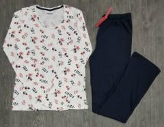 9TH AVENUE Ladies Pyjama Set (WHITE - NAVY) (S - M - L - XL)