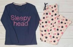 9TH AVENUE Ladies Pyjama Set (NAVY - PINK) (L - XL )