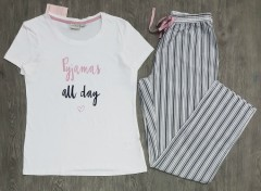 BLUE MOTION Ladies Pyjama Set (WHITE - GRAY) (S - M - L)