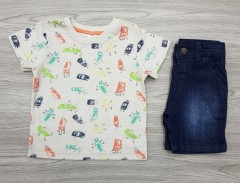 LC WAIKIKI Boys 2 Pcs T-Shirt + Pants Set (GRAY - NAVY) (6 Months to 5 Years)