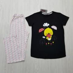 CLM HOMEWEAR Ladies Turkey 2 Pcs Pyjama Set (BLACK - WHITE) (S - M - L - XL)