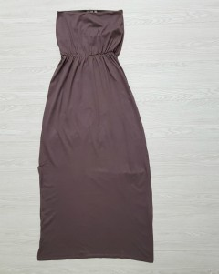 BASICS Ladies Long Dress (BROWN) (XS - S - M -)