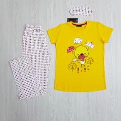 CALIMERA MODA Ladies Turkey 3 Pcs Pyjama Set (YELLOW- WHITE) (S - M - L - XL)