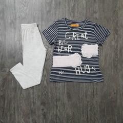 STC Girls 2 Pcs Pyjama Set (BLACK - LIGHT GRAY) (86 to 128 CM)