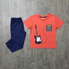 SUPER Boys 2 Pcs Pyjama Set (ORANGE - NAVY) (2 to 8 Years)