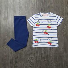 BOBOLI Girls 2 Pcs Pyjama Set (WHITE - NAVY) (2 to 8 Years)