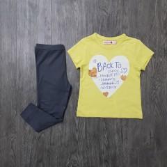 BOBOLI Girls 2 Pcs Pyjama Set (YELLOW - DARK GRAY) (2 to 8 Years)