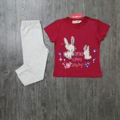 BOBOLI Girls 2 Pcs Pyjama Set (MAROON - LIGHT GRAY) (2 to 8 Years)