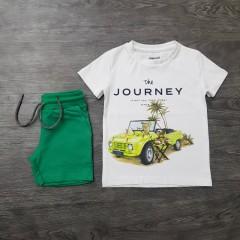 MAYORAL Boys 2 Pcs Shorty Set (WHITE-GREEN) (2 To 9 Years)