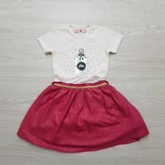 BOBOLI Girls Frock (WHITE-PINK) (1 To 8 Years)