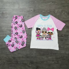 TM&MGA Girls 2 Pcs Pyjama Set (WHITE-PINK) (4-5 To 11-12 Years)
