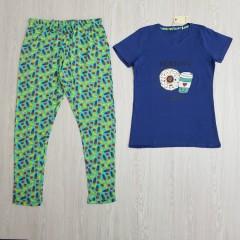 TALLY WEIJL Ladies 2 Pcs Pyjama Set (GREEN - DARK BLUE) (S - M - L - XL)
