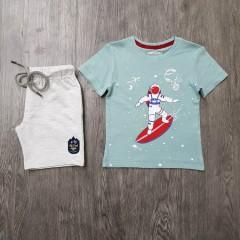 PEBBLES Boys 2 Pcs T-Shirt & Shorty Set ( BLUE - GRAY) ( 2 to 8 Years)