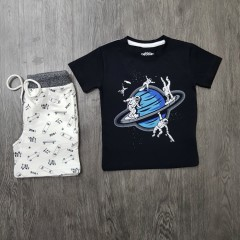 PEBBLES Boys 2 Pcs Pyjama Set ( BLACK - WHITE) (2 to 8 Years)
