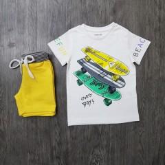 MAYORAL Boys 2 Pcs T-Shirt & Shorty Set ( WHITE - YELLOW) ( 2 to 9 Years)