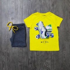 MAYORAL Boys 2 Pcs T-Shirt & Shorty Set ( YELLOW - GRAY) ( 2 to 9 Years)