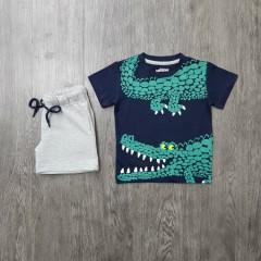 PEBBLES Boys 2 Pcs T-Shirt & Shorty Set ( NAVY - GRAY) (2 to 8 Years)
