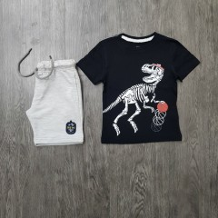 PEBBLES Boys 2 Pcs T-Shirt & Shorty Set ( BLACK- GRAY) ( 2 to 8 Years)
