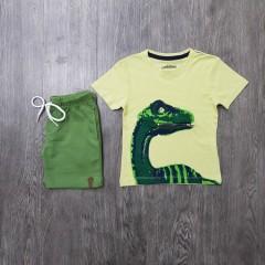 PEBBLES Boys 2 Pcs T-Shirt & Shorty Set ( YELLOW - GREEN) ( 2 to 8 Years)