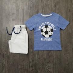 PEBBLES Boys 2 Pcs T-Shirt & Shorty Set ( BLUE - WHITE) ( 2 to 8 Years)