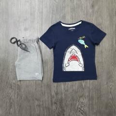 PEBBLES Boys 2 Pcs T-Shirt & Shorty Set ( NAVY - GRAY) ( 2 to 8 Years)