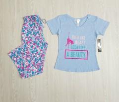 KATHY IRELAND Ladies 2 Pcs Pyjama Set ( LIGHT BLUE - MULTI COLOR) ( S - M - L - XL - XXL)