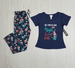 KATHY IRELAND Ladies 2 Pcs Pyjama Set (NAVY ) ( S - M - L - XL - XXL )