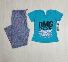 KATHY IRELAND Ladies 2 Pcs Pyjama Set ( BLUE ) ( S - M - L - XL - XXL )