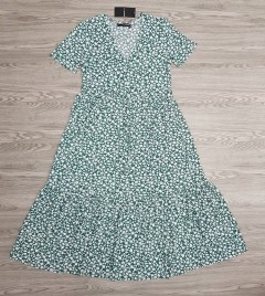 SFERA Ladies Dress (GREEN - WHITE) (S - L)