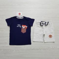 COOL CLUB Boys 2 Pcs T-Shirt & Shorty Set ( NAVY - LIGHT GRAY) ( 12 Month to 6 Years)