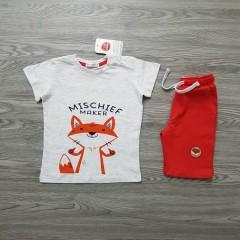 COOL CLUB Boys 2 Pcs T-Shirt & Shorty Set ( LIGHT GRAY - RED) ( 12 Month to 6 Years)