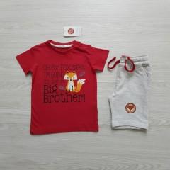 COOL CLUB Boys 2 Pcs T-Shirt & Shorty Set ( RED - LIGHT GRAY) ( 12 Month to 6 Years)