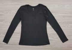 DIP Ladies Long Sleeved Shirt (BLACK) (XS - S - M - L - XL - XXL)
