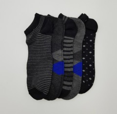 FITTER FIT FOR ME Mens Ankle  Socks 5 Pcs Pack (BLACK - GRAY) (ONE SIZE)