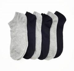 FITTER Mens Sports Socks 6 Pcs Pack (BLACK - GRAY) (FREE SIZE)