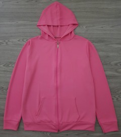 DIYAMOR Ladies Sweat Shirt Front Zipe Hoodie (PINK) (FREE SIZE)